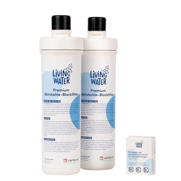 Filterabo, 2x Premium-Aktivkohle-Blockfilter + Desinfektionskonzentrat